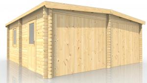 Garage Holzgarage Doppel Autogarage aus Holz, Art. 604227, 5850 x 5850 mm, 58 mm Bolen